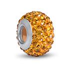 Yellow Topaz Birthstone Bead with Cubic Zirconia