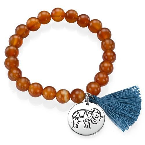 Yoga Jewelry - Engraved Elephant Bead Bracelet