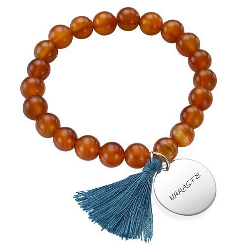 Yoga Jewelry - Engraved Elephant Bead Bracelet - 2