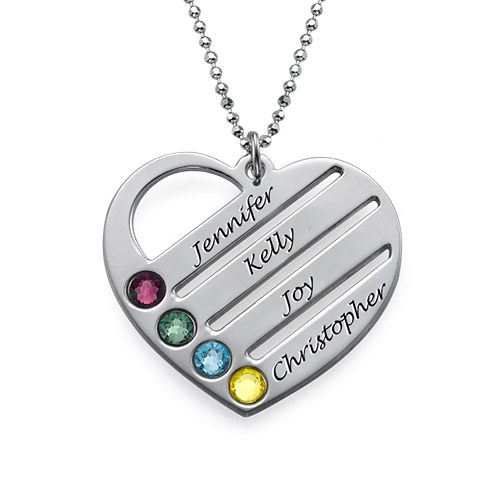 Personalised Love Heart Birthstone Necklace Names Engraved Silver Gold Jewellery