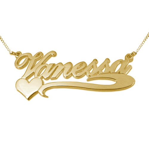 Side Heart 18k Gold - Plated Silver Name Necklace