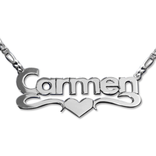 Double Strength Silver Print Heart Name Necklace