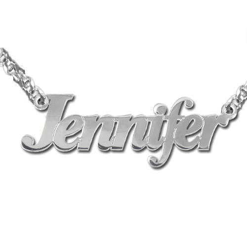 Personalized Double Thickness Silver Name Necklace