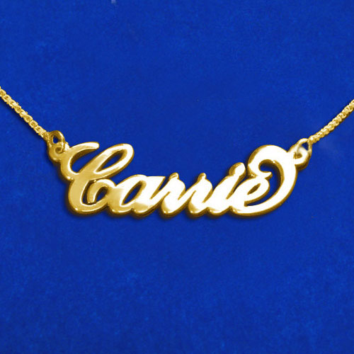 """9K Solid Gold """"Carrie"""" Style Name Necklace"""