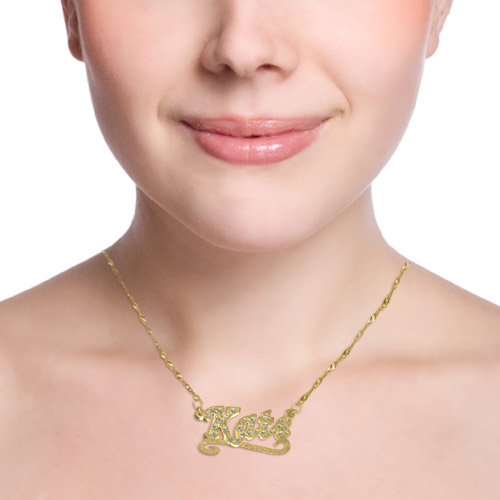 Cubic Zirconia 14k Solid Yellow Gold Double Thickness Name Necklace - 1