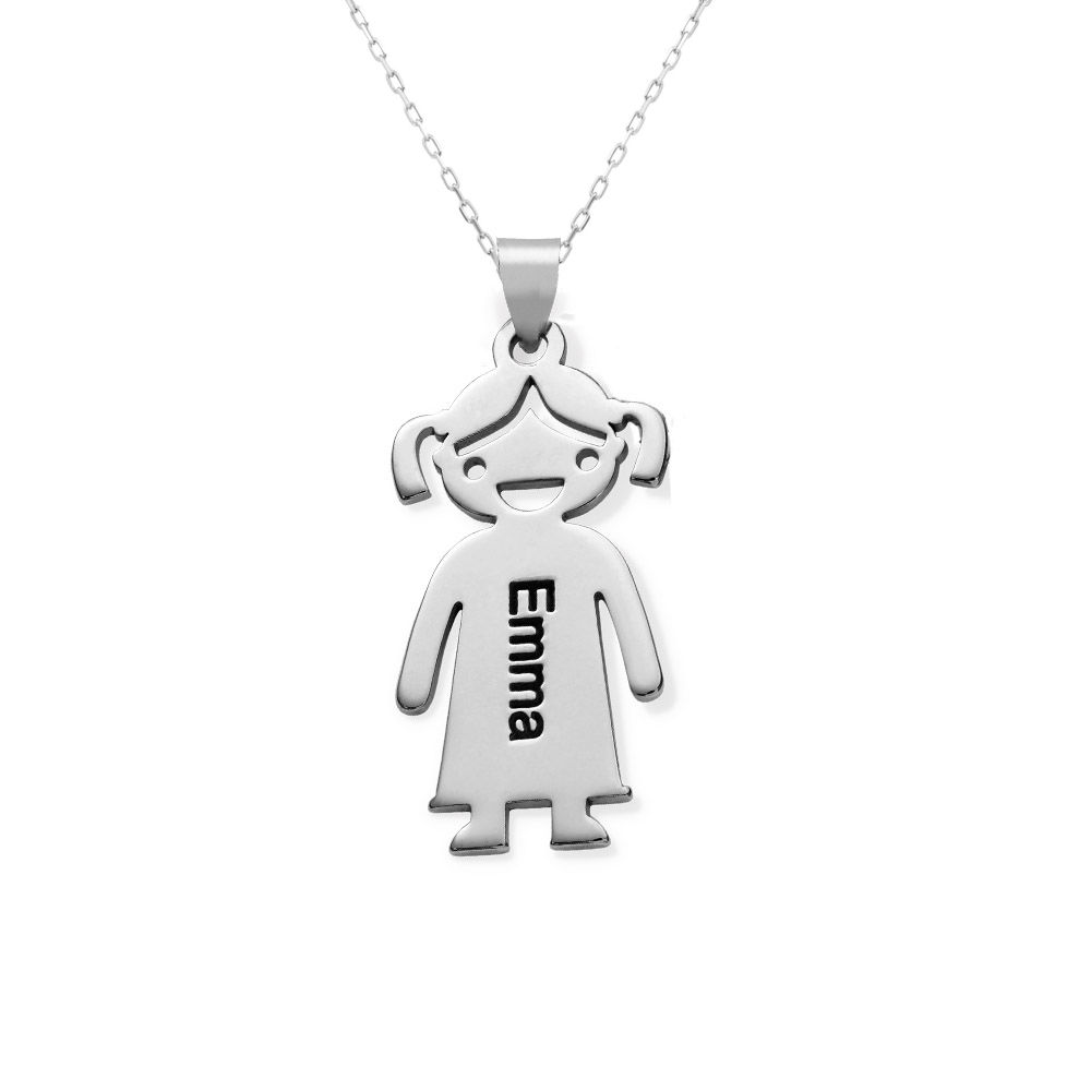 Mother's Necklace with Children Charms in 10K White Gold - 1
