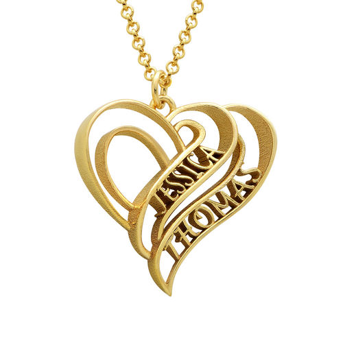 Personalized 3D Heart Necklace with 18K Gold Plating