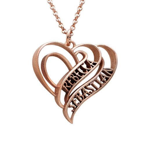 Personalized 3D Heart Necklace with 18K Rose Gold Plating