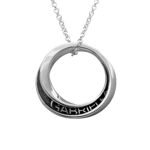 Personalized 3D Circle Necklace in Sterling Silver