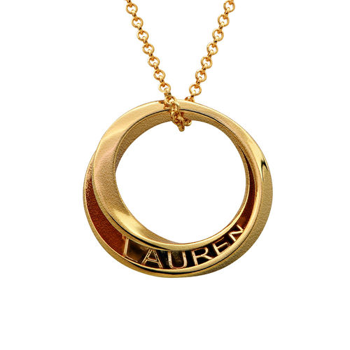 Personalized 3D Circle Necklace with Gold Plating