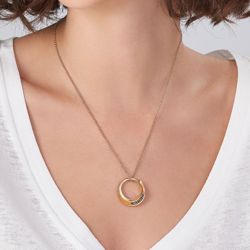 Personalized 3D Circle Necklace with Gold Plating - 3