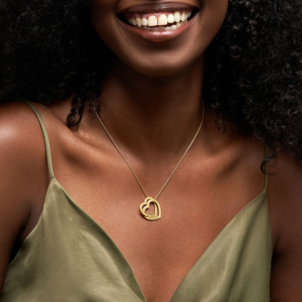 Interlocking Hearts Necklace  with 18K Gold Plating - 2