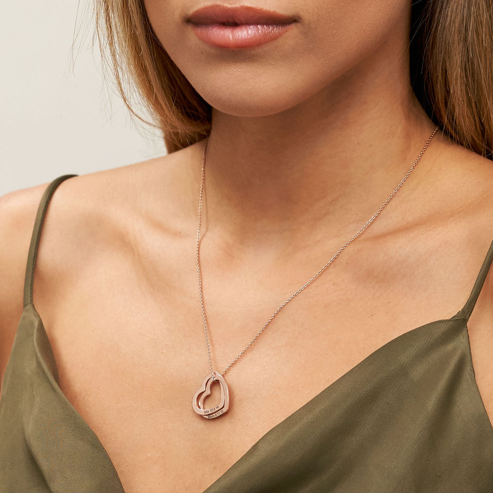 Interlocking Hearts Necklace with 18K Rose Gold Plating - 2