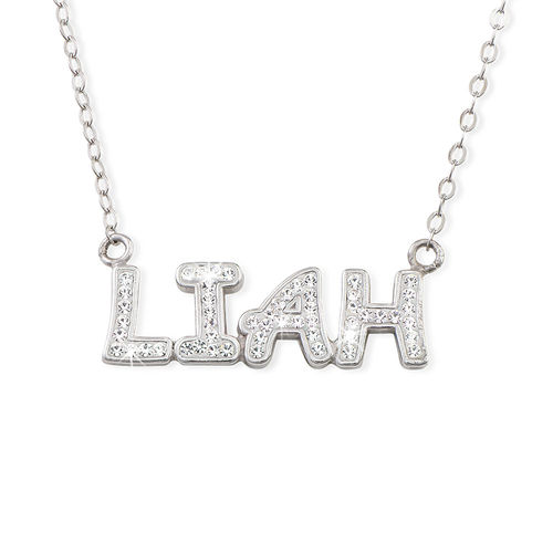Name Necklace with Swarovski Crystals in Sterling Silver