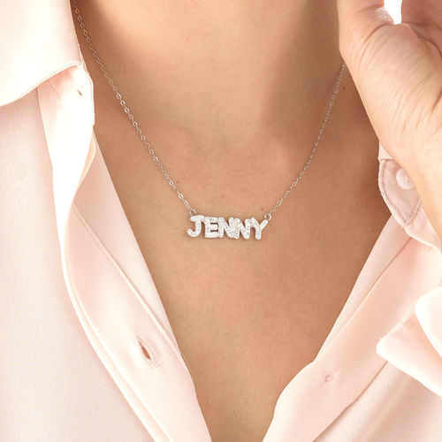 Name Necklace with Swarovski Crystals in Sterling Silver - 3