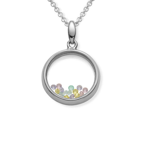 Round Shape Locket with Colored Cubic Zirconia