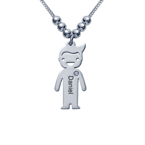 Silver Mother's Necklace - Children Charms with Cubic Zirconia - 1