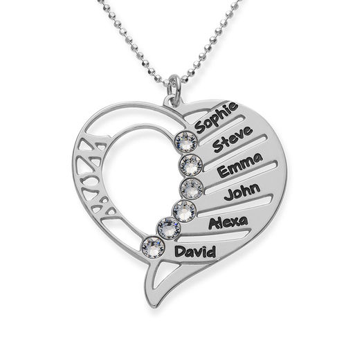 Engraved Mom Necklace with Clear Crystal Swarovski