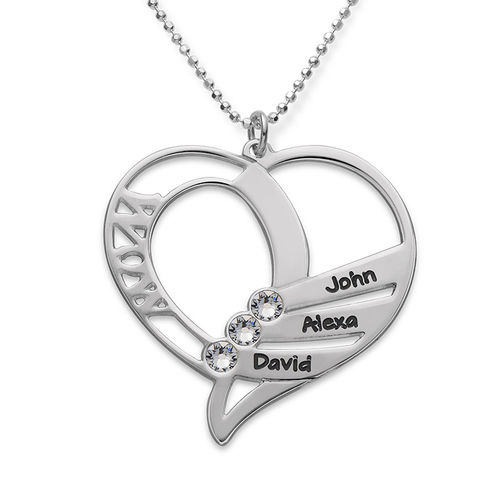 Engraved Mom Necklace with Clear Crystal Swarovski - 1