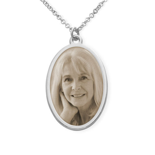 Silver Oval Pendant Necklace with Photo Engraved