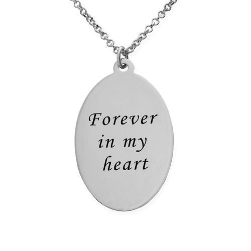 Silver Oval Pendant Necklace with Photo Engraved - 1