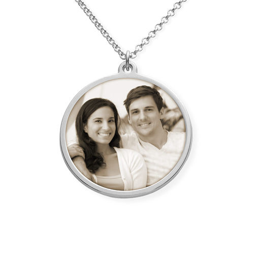 Silver Round Pendant Necklace with Photo Engraved