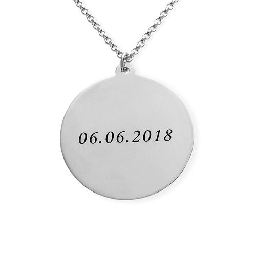 Silver Round Pendant Necklace with Photo Engraved - 1