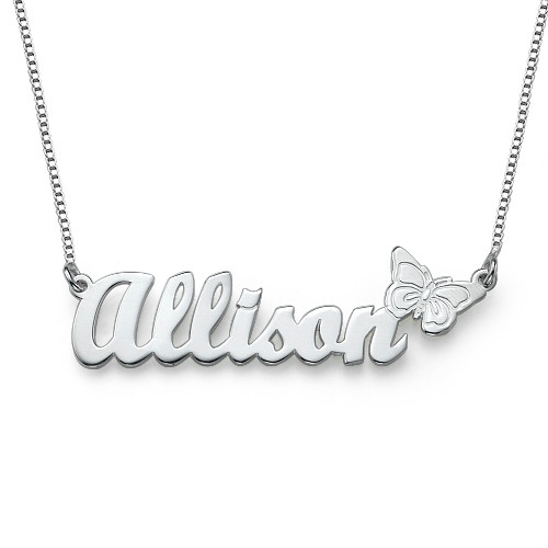 Teen's Butterfly Name Necklace in Sterling Silver