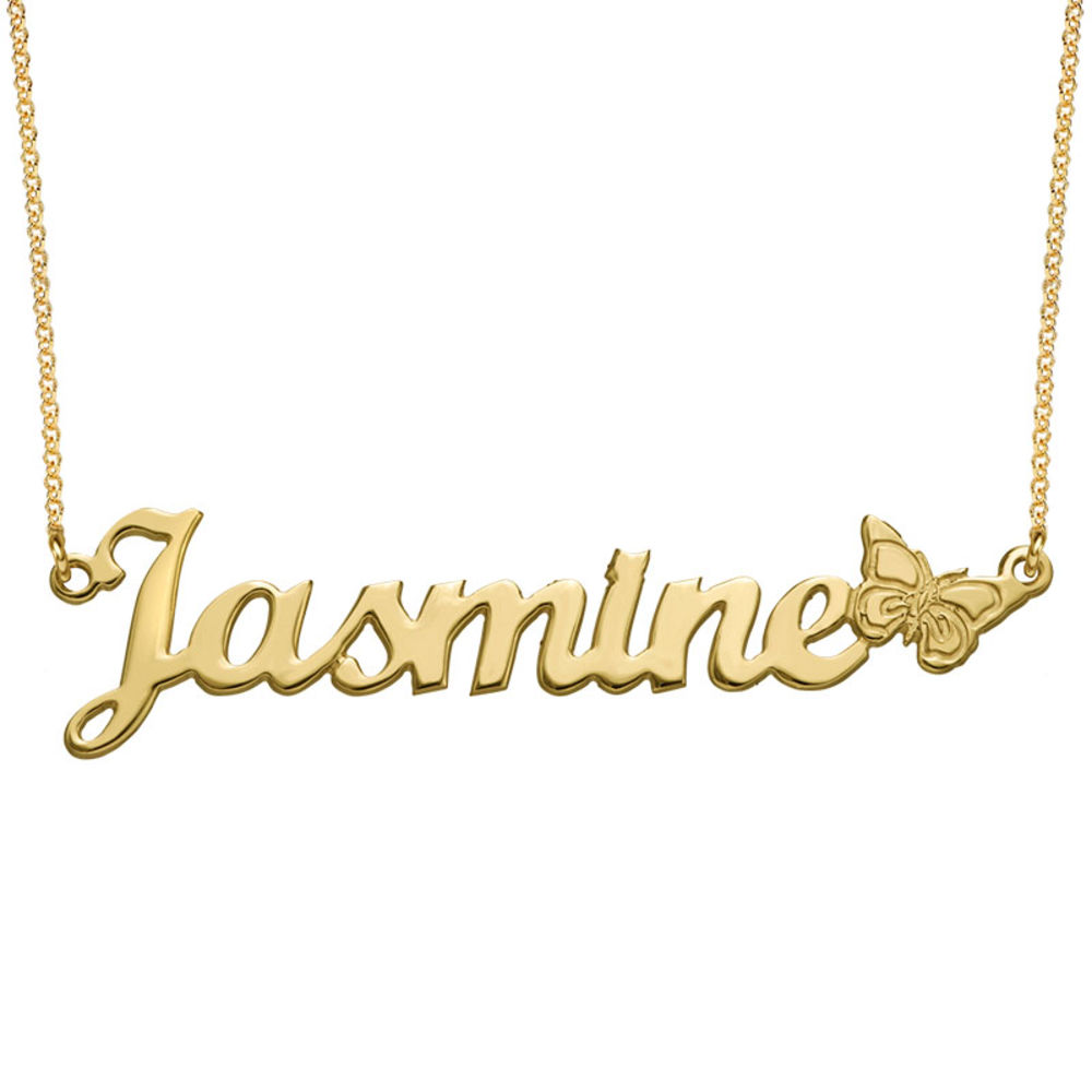 Teen's Butterfly Name Necklace with 18K Gold Plating
