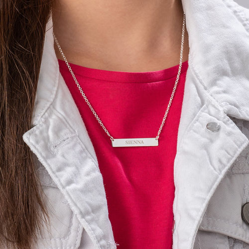 Tiny Sterling Silver Bar Necklace with Engraving for Teens - 2