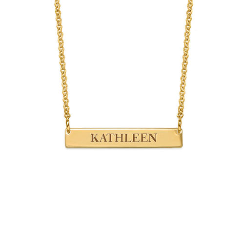 Tiny 18K Gold Plated Bar Necklace with Engraving for Teens