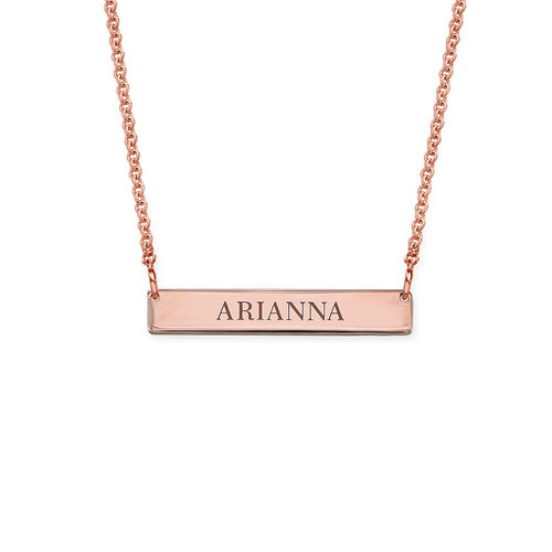 Tiny 18K Rose Gold Plated Bar Necklace with Engraving for Teens