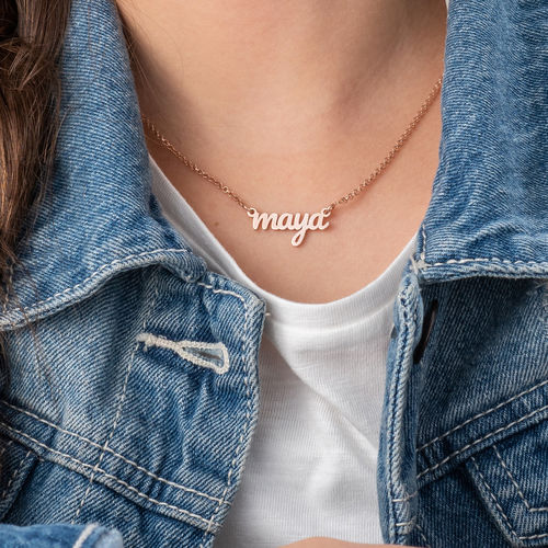 18K Rose Gold Plated Signature Name Necklace for Teenagers - 2