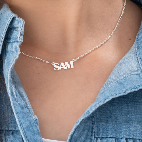 Teen's Silver Name Necklace with Capital Letters - 2
