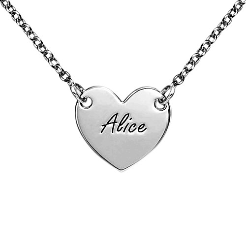 Engraved Heart Necklace in Sterling Silver for Teens