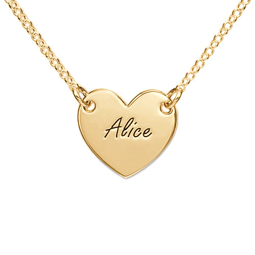 Engraved Heart Necklace with 18K Gold Plating for Teens