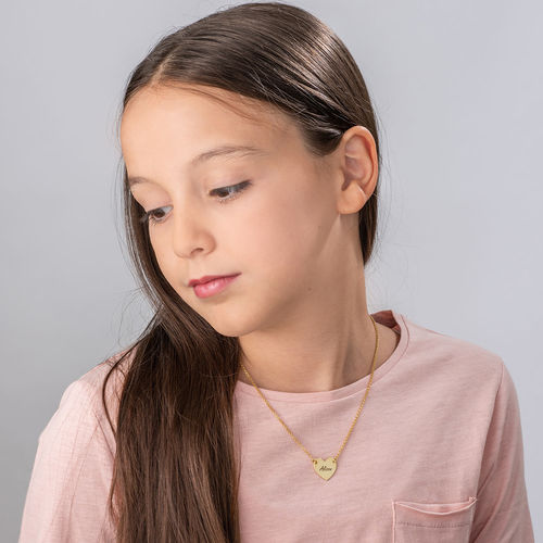Engraved Heart Necklace with 18K Gold Plating for Teens - 1