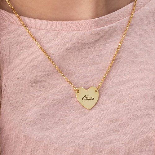 Engraved Heart Necklace with 18K Gold Plating for Teens - 2
