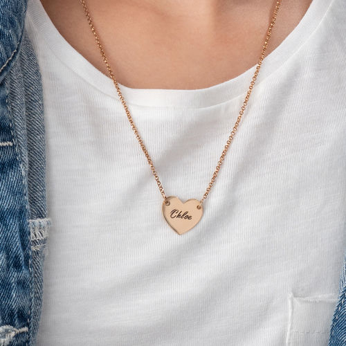 Engraved Heart Necklace with 18K Rose Gold Plating for Teens - 2