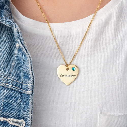 Teen's Personalized Heart Necklace with Birthstone in Gold Plating - 2