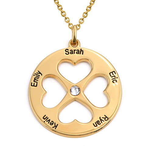 Four Leaf Clover Heart Necklace in Gold Plating
