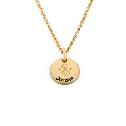 Baby Hand Engraved Charm Necklace in Gold Plating