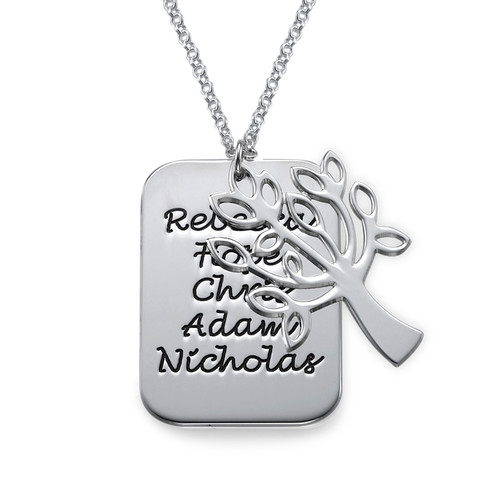 Family Dog Tag Necklace with Family Tree Charm