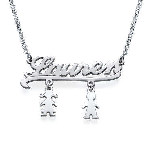 Name Necklace with Kids Charms