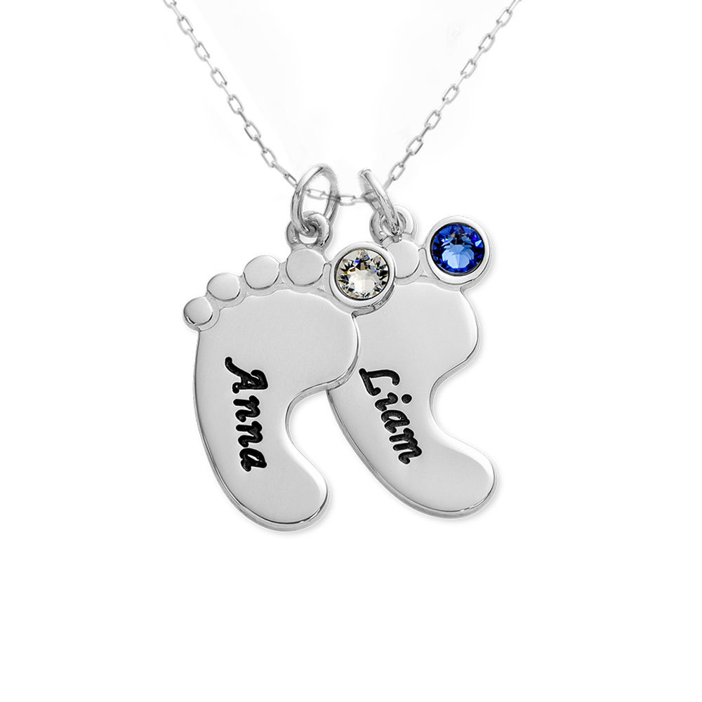 Baby Feet Necklace In 10K White Gold - 2