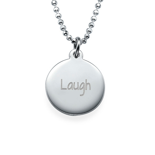 "Inspirational Jewelry - ""Laugh"" Necklace Silver"