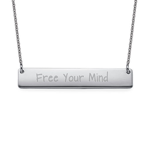 "Inspirational Gifts - ""Free Your Mind"" Bar Necklace SILVER"
