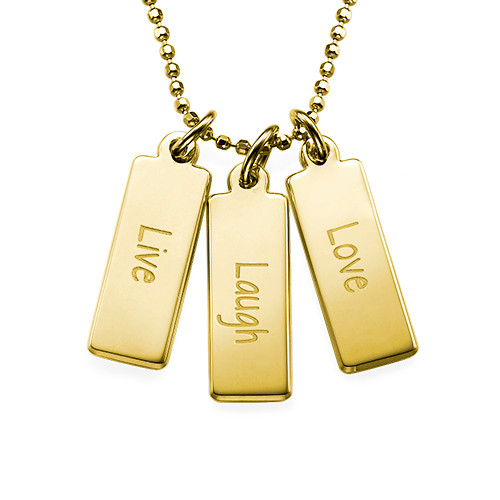 "Inspirational Jewelry - ""Live Laugh Love"" Necklace GP"