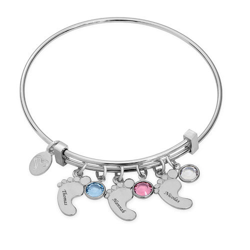 Baby Feet Bangle Bracelet with Birthstones