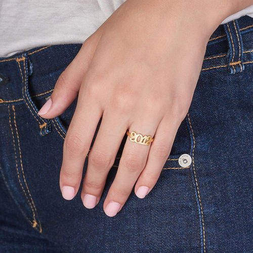 Personalized Number Ring with 18K Gold Plating - 3
